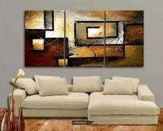 cuadros tripticos 1.70 de ancho pintados florales abstractos