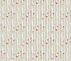 birdhouse fabric by troismiettes on Spoonflower - custom fabric Voering voor grijs jasje