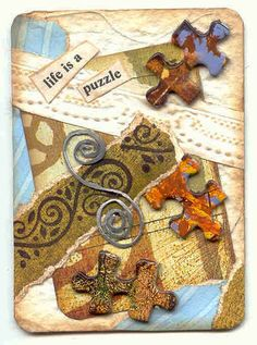 ATC ~ life is a puzzle Atc Cards, Bingo Cards, Card Tags, Puzzle Piece Crafts, Puzzle Pieces, Playing Card Crafts, Playing Cards, Paper Collage Art, Fabric Postcards
