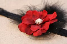 Gorgeous Deep Red Flower with a Large Crystal by pilycouture, $14.99