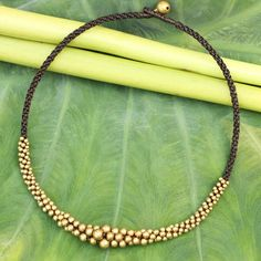 NOVICA Hand Crafted Brass Beaded Necklace (120 RON) ❤ liked on Polyvore featuring jewelry, necklaces, beaded, brass, bead jewellery, bead necklace, beaded jewelry, beading jewelry and handcrafted jewelry