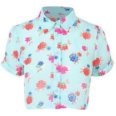 Multi Crop Floral Shirt (9.830 CLP) ❤ liked on Polyvore featuring tops, shirts, crop tops, t-shirts, button front top, shirt crop top, blue shirt, floral tops and floral crop top