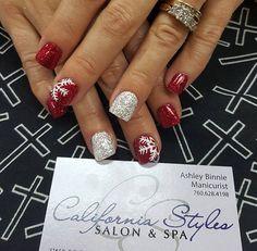 Christmas red glitter white glitter snow flake nails