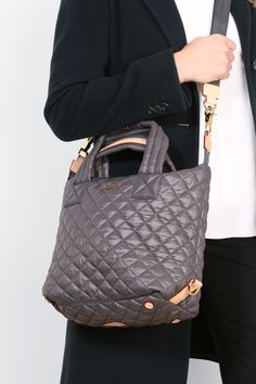 MZ Wallace Oxford Nylon Quilted Small Sutton Bag worn with the crossbody strap.