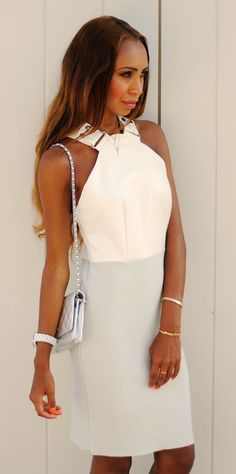 Novo London White And Grey Sophisticated Buckle Strap Mini Dress