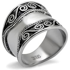 Antique Silver Cocktail Ring Stainless Steel Bohemian Swirl Size 9 10 USA Seller #Cocktail