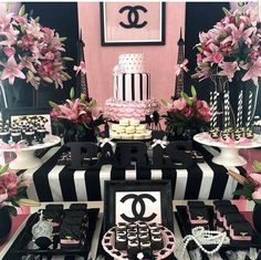 52 Ideas Baby Shower Ideas Jungle Theme Mom For 2019 Chanel Party, Chanel Birthday Party, Paris Themed Birthday Party, Birthday Party For Teens, Paris Party, Birthday Party Decorations, Spa Birthday, Birthday Ideas, Birthday Cake