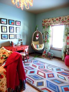 future room for my breeze? I can see all of her art framed on the wall just like that! All the colors in the fabric and rug are perfect for a little artist!!!! @Kristin Eaquinto