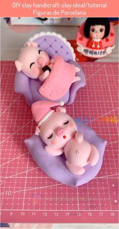 Polymer Clay Disney, Cute Polymer Clay, Cute Clay, Polymer Clay Crafts, Diy Clay, Cake Decorating Piping, Cake Decorating Videos, Cake Decorating Techniques, Fondant Animals
