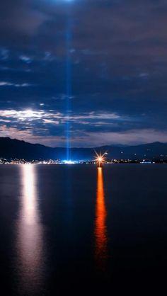 City, Night view, Light, Sea, Landscape