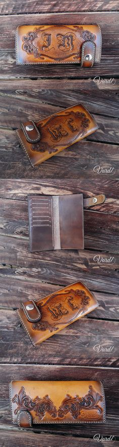 Handcrafted leather wallet, EMBOSS  Vardi Craft Handmade long leather wallet, vintage gray long wallet