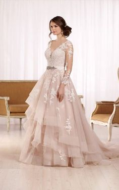 D2186 Sleeved tulle wedding dress with illusion lace by Essense of Australia