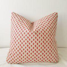Dotted Coral Pillow Cover 18x18  Natural Throw Pillow, Accent Pillow, Toss Pillow 16 18 20 22 24 26 Euro