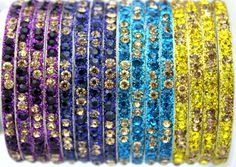 Indian Purple Blue Yellow Lac Children Kid Baby Toddler Crystal Bangle 16 Pieces #Handmade #Bangle