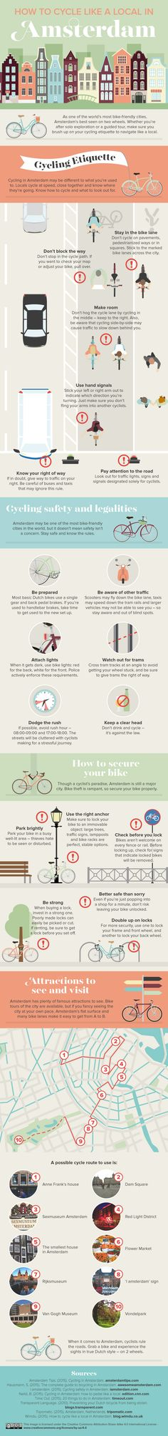 How to Cycle like a Local in Amsterdam. | Infographic | Hey Vanderbilt music students! You can study abroad at the Conservatory of Amsterdam through Vanderbilt GEO and @iesabroad