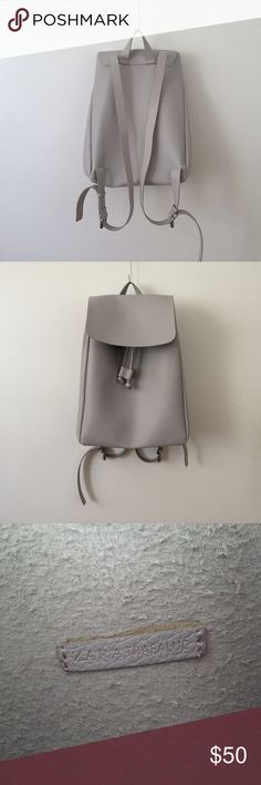 Zara gray leather backpack Zara gray (lavender gray) leather backpack practically new never used (not sold anymore) RARE          Height/width/depth: 36 x 28 x 18 cm Zara Bags Backpacks