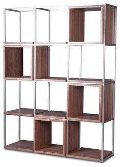 Walnut/steel grid bookcase by Houzz.  I like this marriage of steel and wood over static built-ins.