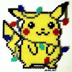Christmas lights & Pikachu perler beads by _beads_art