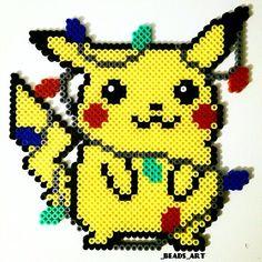 Christmas lights & Pikachu perler beads by _beads_art