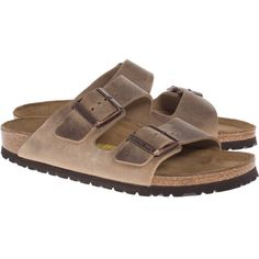 Birkenstock Arizona Tobacco Brown // Leather sandals (€39) found on Polyvore featuring women's fashion, shoes, sandals, buckle shoes, leather buckle sandals, birkenstock shoes, slim shoes and brown leather strap sandals