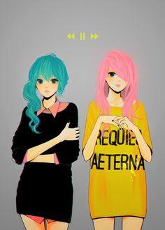 Hatsune Miku & Luka Megurine.  VOCLAOID artwork