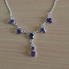 Natural Amethyst Gemstone Silver Necklace  by DevmuktiJewels