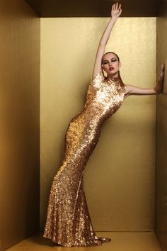 Marc Bouwer Gold metallic sequin fin front fishtail gown