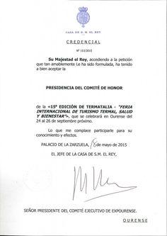 El Rey de España, Felipe VI, presidirá el Comité de Honor de Termatalia 2015