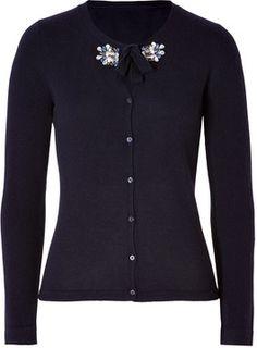 Tara Jarmon Wool-Cashmere Embellished Collar Cardigan in Navy Blue on shopstyle.com