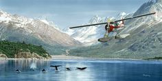 """Regarded as the one of the best of the """"bush planes,"""" the de Havilland Canada Beaver is a single engine, high-wing, propeller-driven, STOL aircraft developed by de Havilland Canada for flight operations in remote and rugged areas of the world. Sea Plane, Float Plane, Aviation World, Aviation Art, Airplane Painting, Nautical Painting, Bush Pilot, Plane Photography, Bush Plane"""