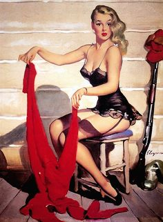 Who, Me? - Art by Gil Elvgren