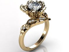 14k yellow gold diamond unusual unique floral engagement ring, bridal ring, wedding ring ER-1071-2