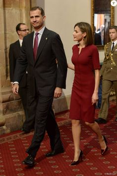 King Felipe and Queen Letizia attended an audience with the winners of Princesa de Asturias Awards 2015 at the Reconquista Hotel on October 23, 2015 in Oviedo, Spain.