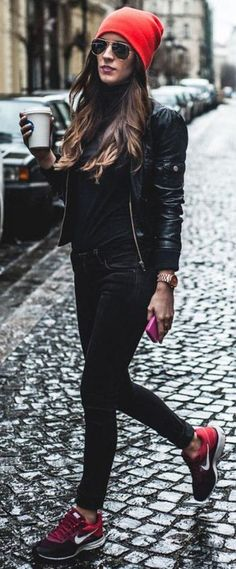 How To Wear Nike Outfits Street Style Leather Jackets 35 Ideas For 2019 Fall Winter Outfits, Autumn Winter Fashion, Nike Outfits, Casual Outfits, Converse Outfits, Vans Outfit, Black Converse, Mode Cool, Leather Jacket Outfits