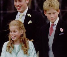 Prince William and Prince Harry with their cousin, Princess Beatrice of York.