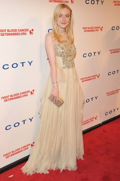 Dakota Fanning in ELIE SAAB Haute Couture Fall 2012 at the 6th annual DKMS Linked Against Blood Cancer gala.