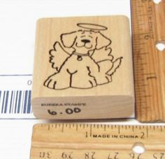 DOG WITH HALO & ANGEL WINGS SITTING CONTENT BY EUREEKA STAMPS RUBBER STAMP #EUREEKA #RUBBERSTAMPS