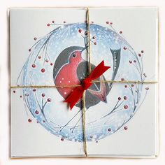Christmas robin illustrated cards  5 pack