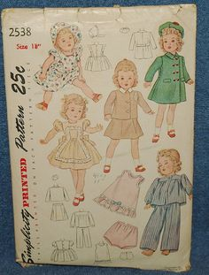 "Vintage Simplicity 18"" Doll Clothes Pattern #2538,NM #Butterick"