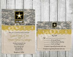 Wedding Printable Invitation and RSVP - Army Strong Wedding, Army Camouflauge, Army Logo and Army yellow Lace. Military Wedding Inviations on Etsy, $12.00