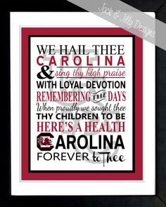 Pinning so I can order this later... University of South Carolina  ALMA MATER  by JackandJillyDesigns, $12.00