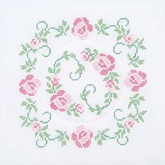 "Stamped White Quilt Blocks 18""X18"" 6/Pkg-XX Circle Of Roses"