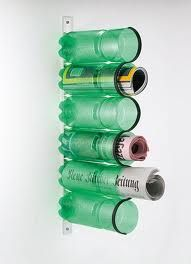 Plastic bottles recycled idea. Magazines, mail, brushes? good for lots of rooms!