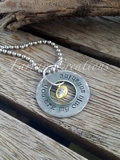 Floating washer - You are my Sunshine -Personalized Hand stamped Necklace