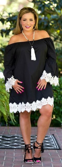 Love Letters Dress / Tunic - Black & Cream***FINAL SALE*** - Perfectly Priscilla Boutique