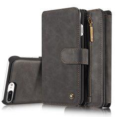 Vintage Leather Magnetic Detachable Phone Case Multifunctional Zipper Wallet Case For iPhone 7 Plus