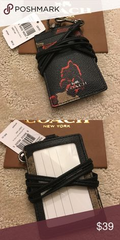 Coach ID Lanyard♦️ Coach ID Lanyard♦️. Brand New With Tags!  Black with floral design Coach Accessories Key & Card Holders