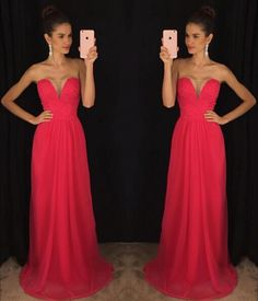 Charming Prom Dress,Sleeveless Red Chiffon Prom Dress,Sexy Evening