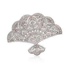 Ross-Simons - .20 ct. t.w. Diamond Fan Pin/Pendant In Sterling Silver - #783675