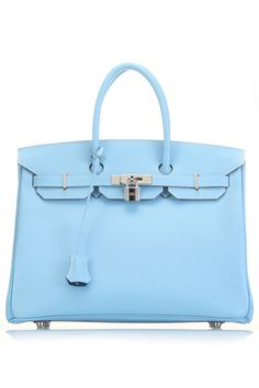 A symbol of elegance and luxury, the Birkin 35 is easily the most iconic bag of our time. This extremely rare Celeste and Mykonos blue Birkin 35 is from the Candy collection